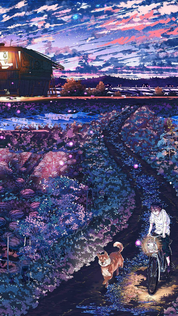 Anime Night Art Sunset Lovely Illustration Android