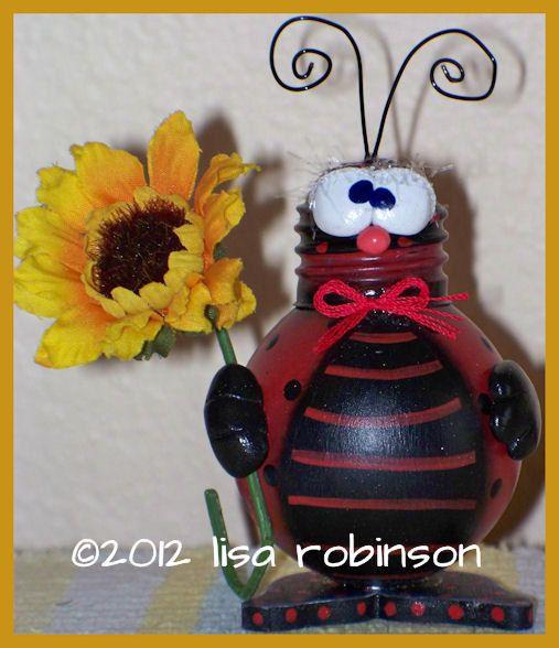 LANCE hand painted ladybug recycled light bulb sunFLoWeR hp bug oRiGiNaL prim chick ofg. $25.00, via Etsy.
