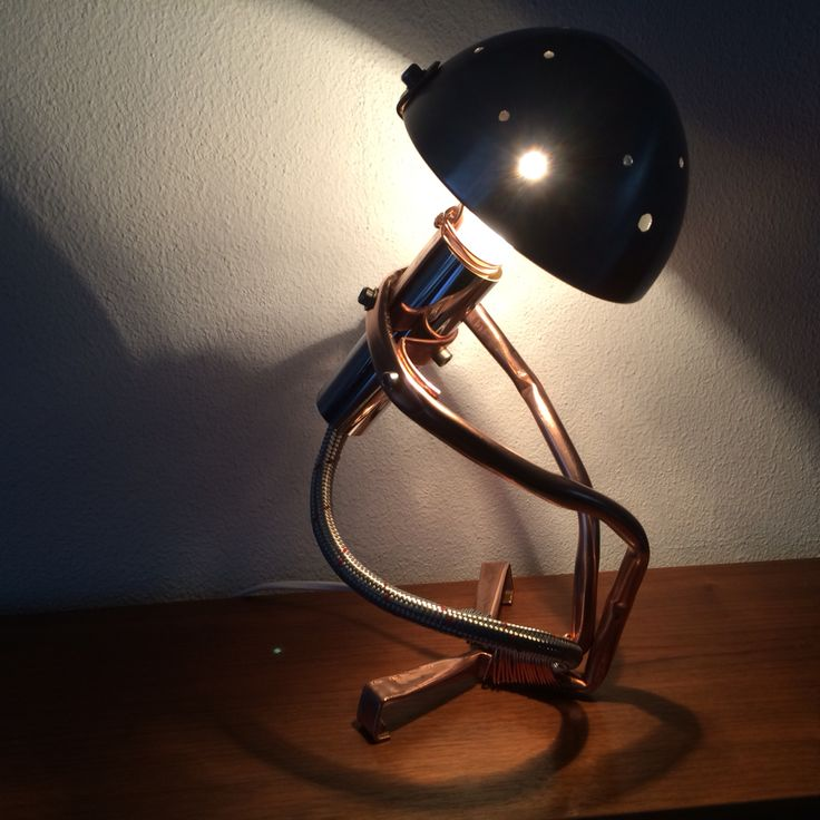 Juri - Handmade lamp from copper, copperwire and chrome.