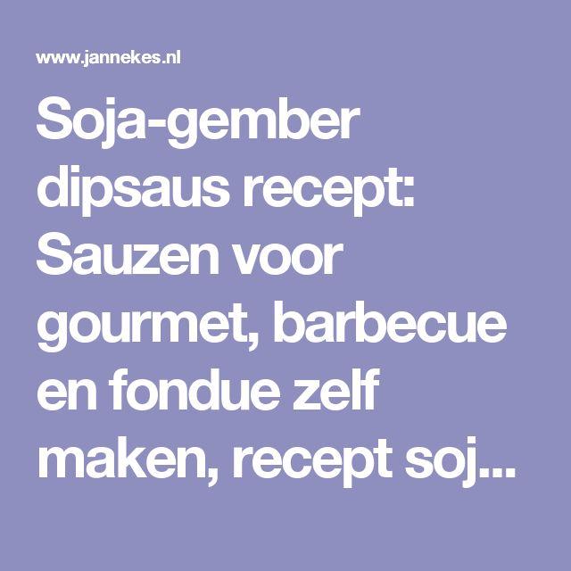 Soja-gember dipsaus recept: Sauzen voor gourmet, barbecue en fondue zelf maken, recept soja gember dipsaus