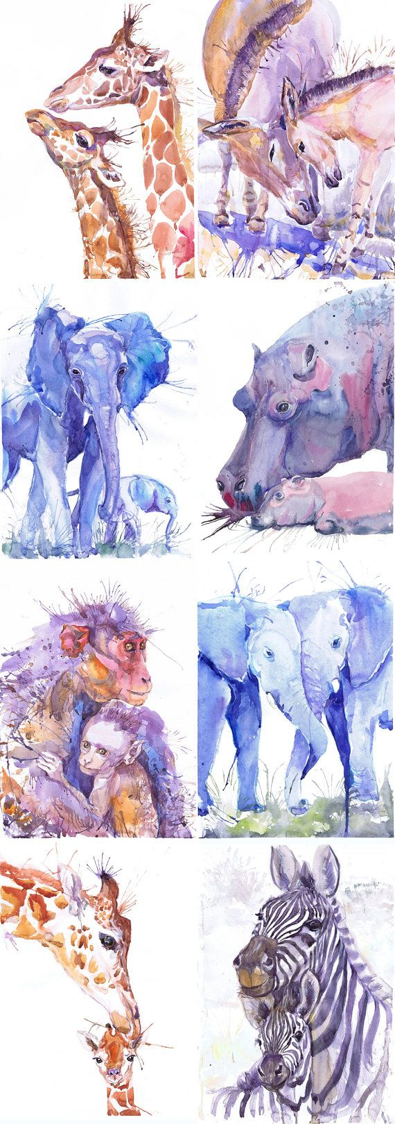 ACEO Artist Trading Cards Art Prints Watercolor Painting Jungle Safari Animals ATC Giclee, Set of 8 Signed Collectible card Watercolour Set of 8 Signed More