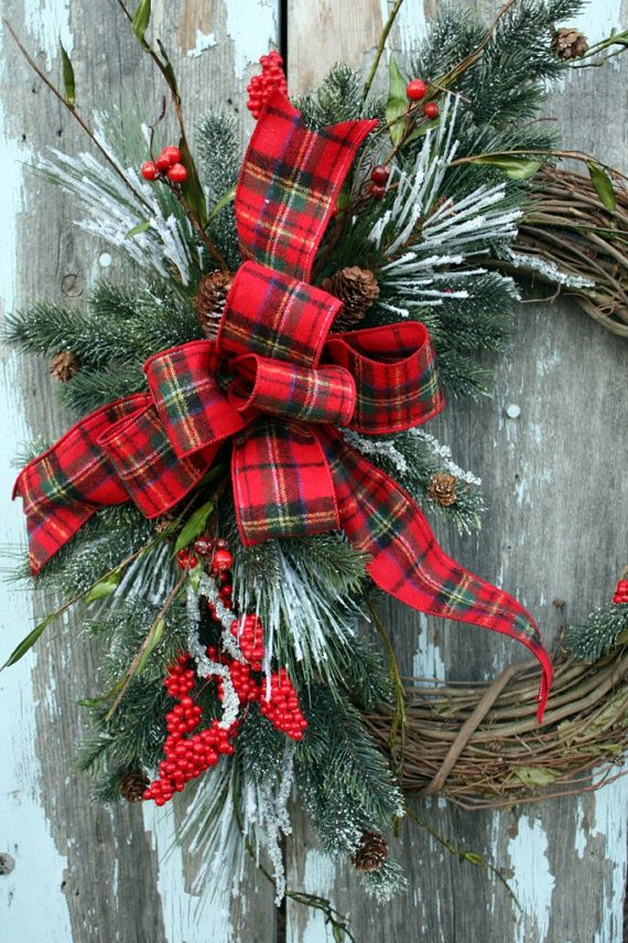 Christmas Wreath Snowy Pine Red Berries By