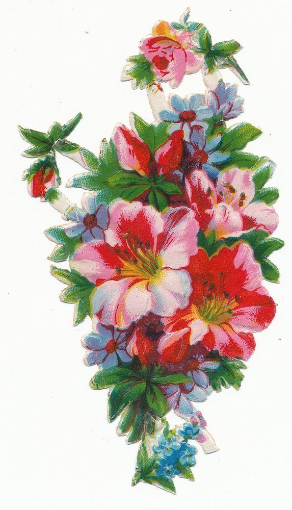 alte Oblate Glanzbild um 1920/30  Blumenstrauß Hibiskus incl. 3 mini Oblaten