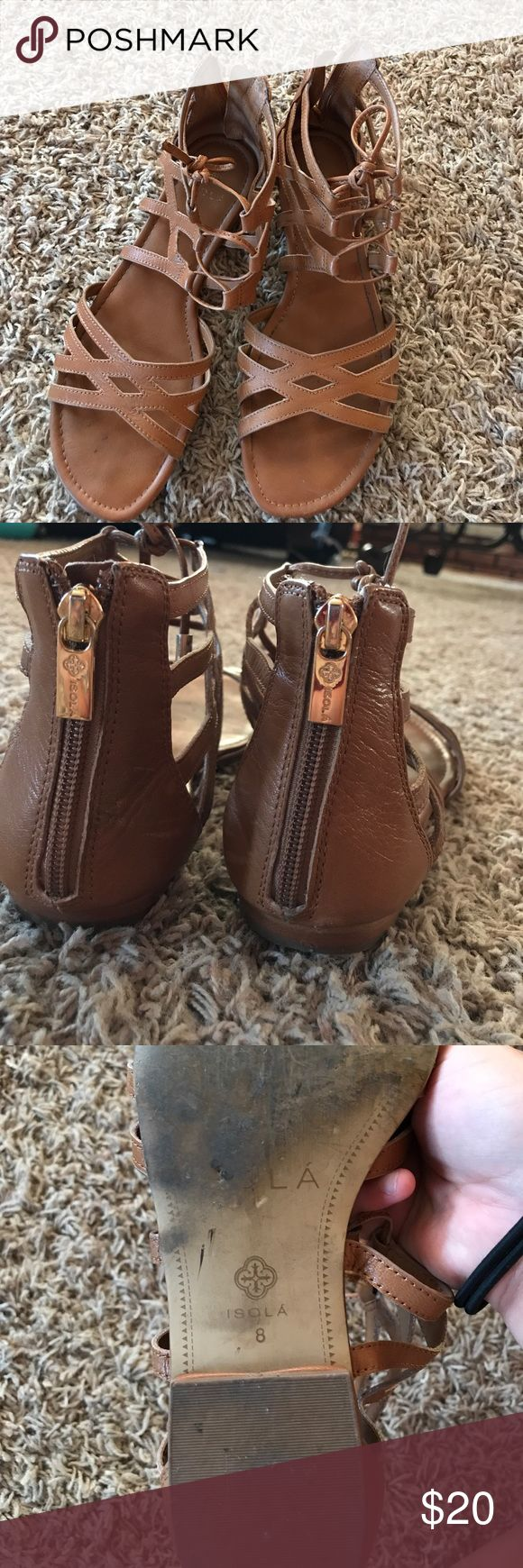 SANDALS FOR SALE! WORN A COUPLE TIMES! Size 8 gladiator zip up sandals. Loved them. They were a little too big on me. Worn them a couple times on special occasions last summer. Gold zipper in the back, cognac brown sandals, leather, two ties in the front top Shoes Sandals