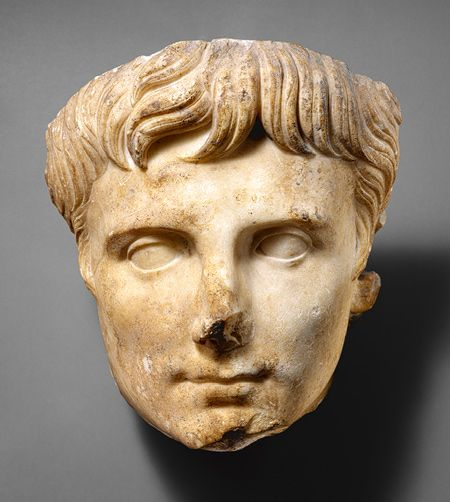 Portrait head of the Emperor Augustus, ca. 14–37; Julio-Claudian  Roman  Marble    Source: Portrait head of the Emperor Augustus [Roman] (07.286.115) | Heilbrunn Timeline of Art History | The Metropolitan Museum of Art