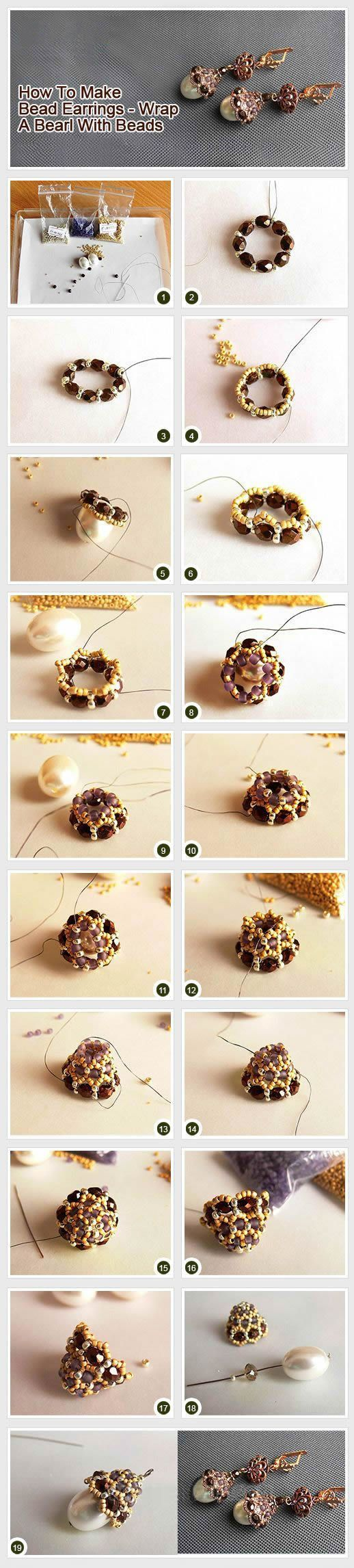 Wrapped Pearl EarringFree Diy Jewelry Projects | Learn how to make jewelry - beads.us