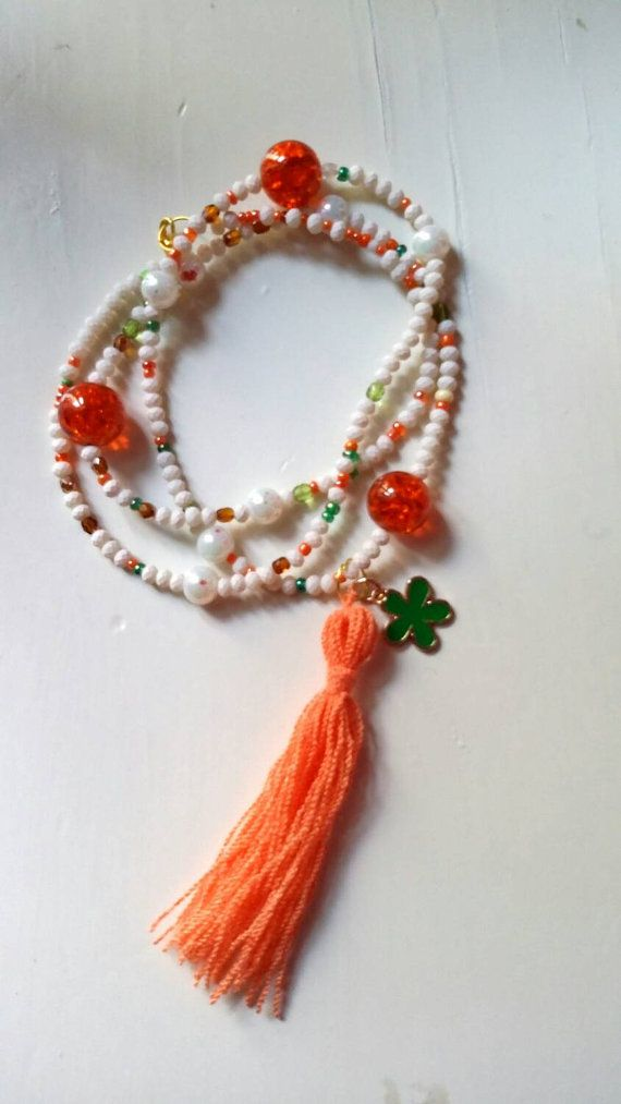 New White long necklace with charm and tassel by KaterinakiJewelry