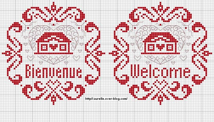 Schema punto croce Welcome Casetta