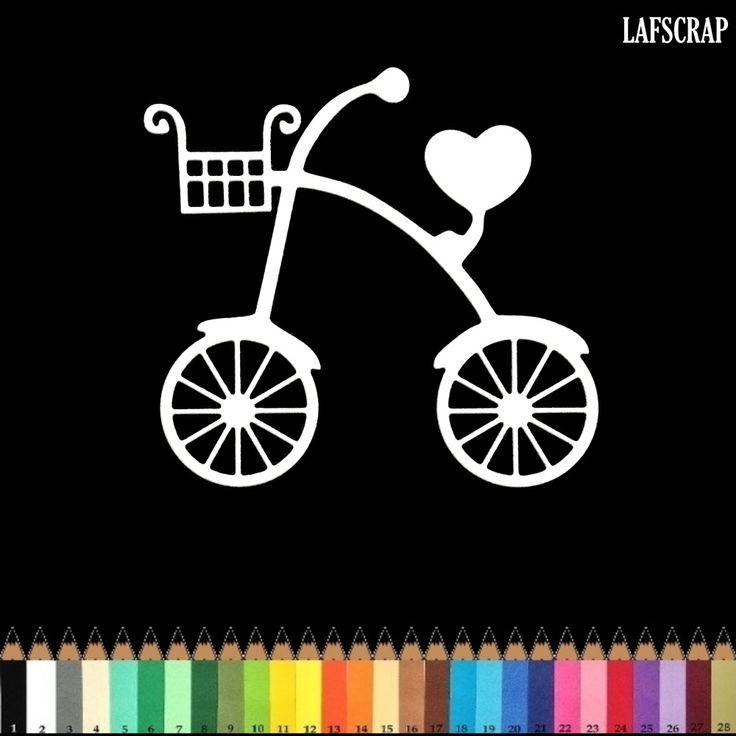 Découpe scrapbooking scrap vélo enfant panier coeur