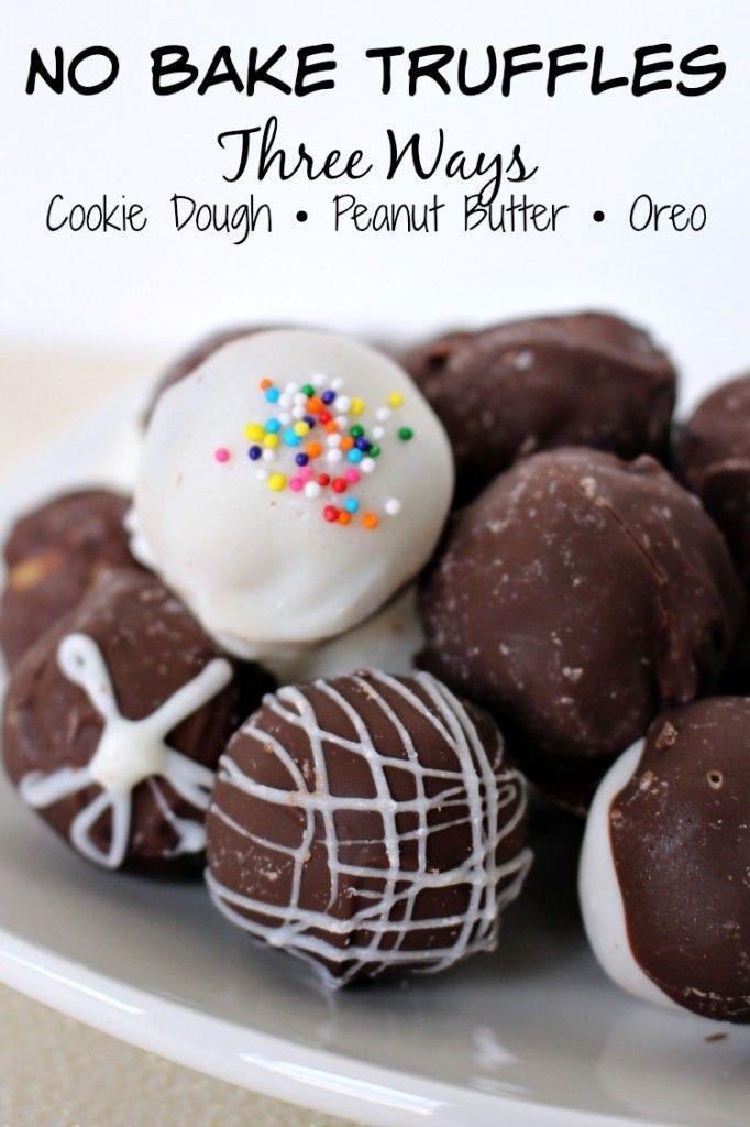 Easy no bake truffles - cookie dough • Peanut Butter • Oreo cookie