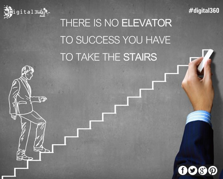 """""""There is no elevator to success you have to take the stairs"""" #mondaymotivational #quoteoftheday #goodquote #success #digital360 #future #business #hardwork #motivate #learn #newdelhi #India"""