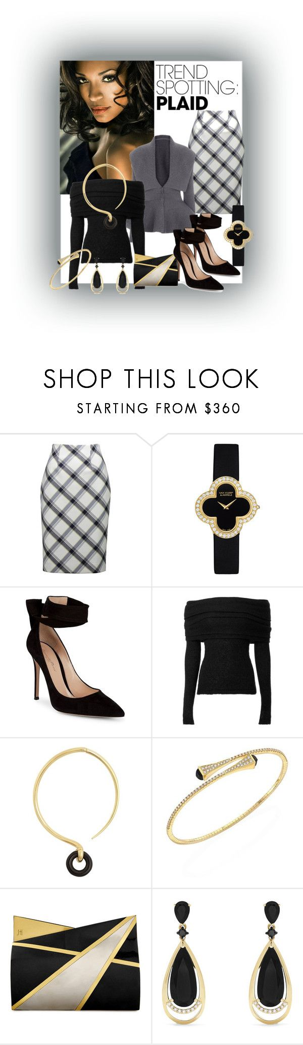 """Plaid at Work"" by kflorence ❤ liked on Polyvore featuring Van Cleef & Arpels, Gianvito Rossi, Charlotte Chesnais, Marli, Jill Haber and Effy Jewelry"