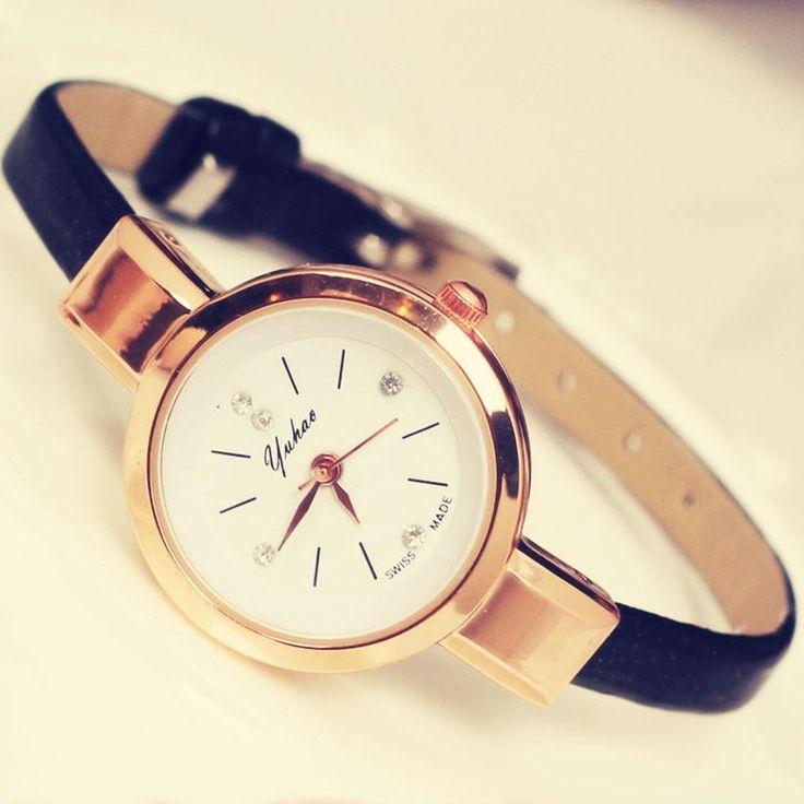 Fashion Ladies Thin Strap Diamond Alloy Quartz Wrist Watch