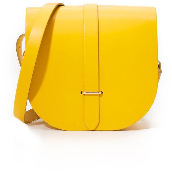 Cambridge Satchel Saddle Bag found on Polyvore featuring bags, handbags, shoulder bags, riviera yellow, leather shoulder handbags, yellow shoulder bag, yellow purse, shoulder strap handbags and genuine leather handbags