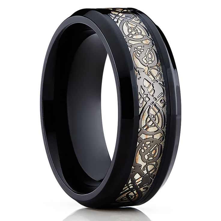 Black Dragon Inlay Black Tungsten Ring Comfort Fit Ring