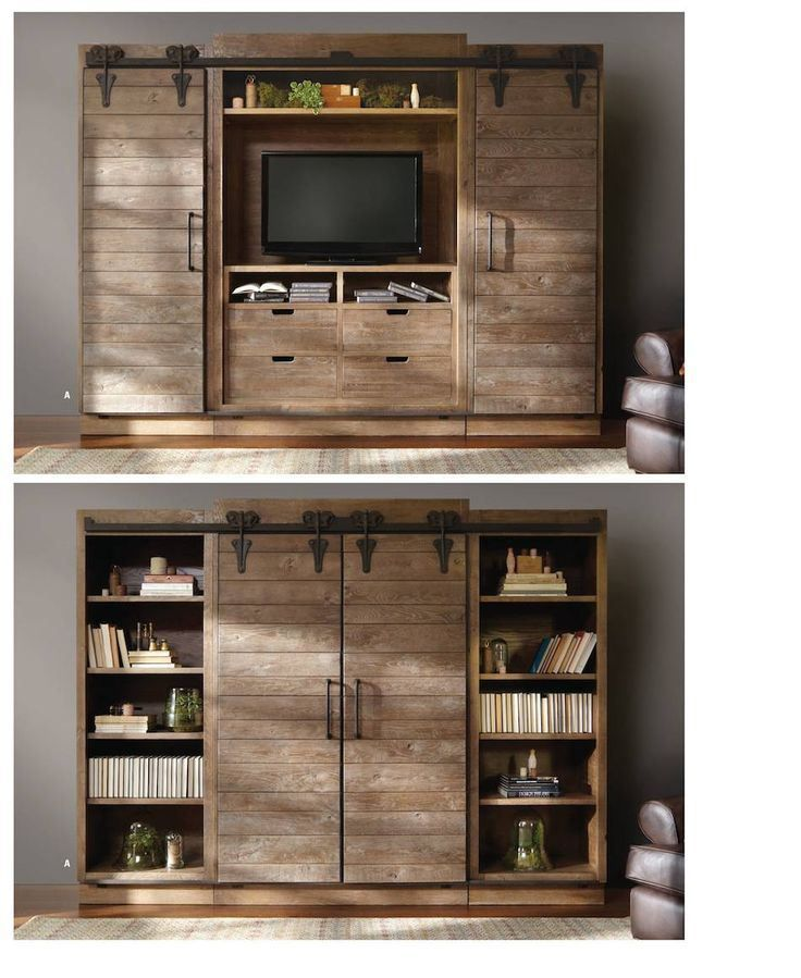 Arhaus entertainment center. Sliding doors to hide the tv when not in use.