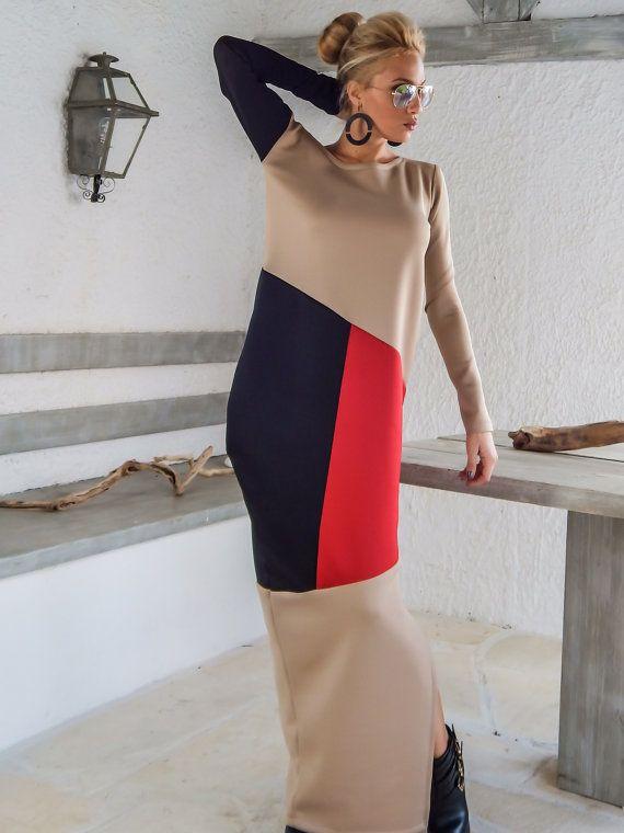 Scuba Neoprene Colorblock Maxi Dress Kaftan / Beige Black Red Kaftan / Plus Size Dress / Oversize Loose Dress / #35138   A very elegant....and
