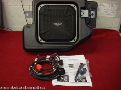 "Dodge Ram 2009-2011 Quad/Crew-cab KICKER Single Subwoofer Mopar by Mopar. $540.00. Here it is! Finally for all of you 2009 Dodge Ram 1500 Quad or Crew cab (ONLY )owners, as well as 2010-2011 Dodge Ram 1500 Quad and Crew cab owners is this new Kicker 10""subwoofer. This Mopar package contains detailed instructions on how to install this plug and play sytem. It contains one 10"" subwoofer which installs easily in place of the rear driver side portion of your fold flat storage space..."