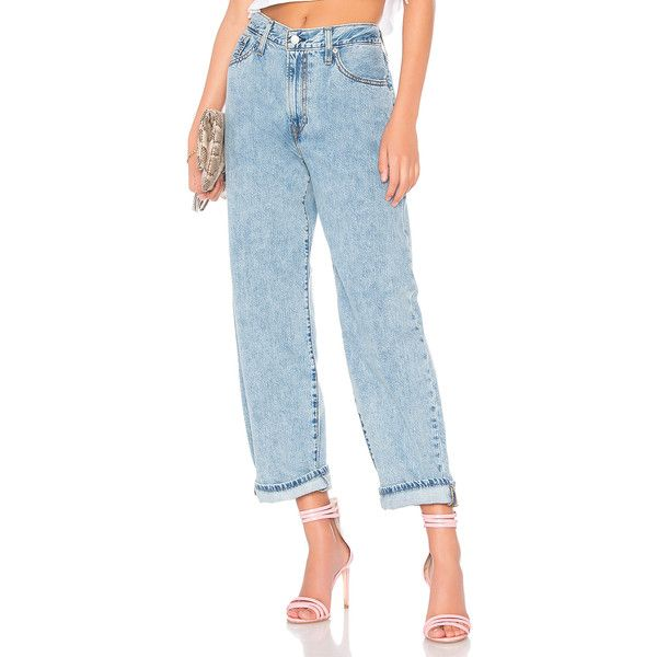 LEVI'S Big Baggy Jean ($97) ❤ liked on Polyvore featuring jeans, frayed blue jeans, frayed-hem jeans, blue jeans, faded jeans and levi jeans
