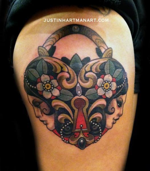 Heart Lock Women Tattoo by Justin Hartman