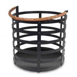 Farms Log Basket - Fire log basket of wrought iron/leather handle