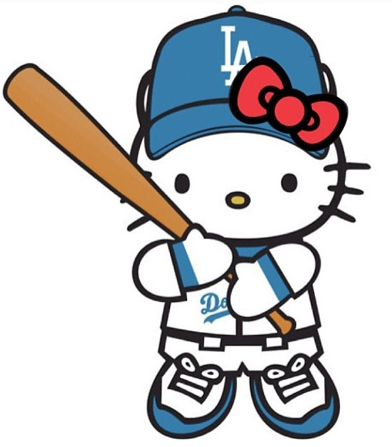 Hello Kitty Baseball Coloring Pages : Hello dodgers kitty ♠ dat double ss wear pinterest