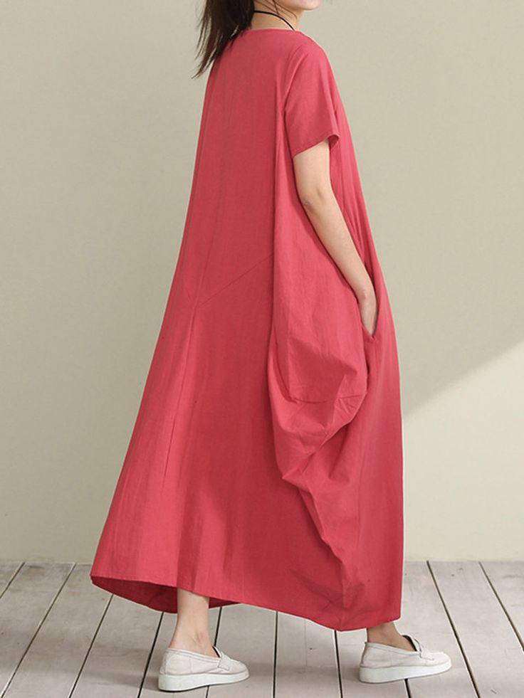 O-NEWE Loose Women Solid Short Sleeve Pockets Irregular Dress - NewChic