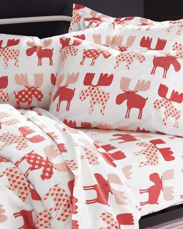 These whimsical flannel sheets are kitsch at its best, sporting a playful moose collage in an eye-catching mix of contemporary patterns in vintage-holiday shades.