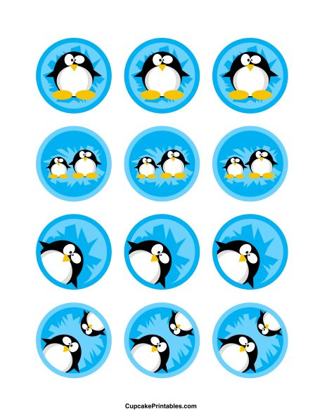 Penguin cupcake toppers. Use the circles for cupcakes, party favor tags, and more. Free printable PDF download at http://cupcakeprintables.com/toppers/penguin-cupcake-toppers/