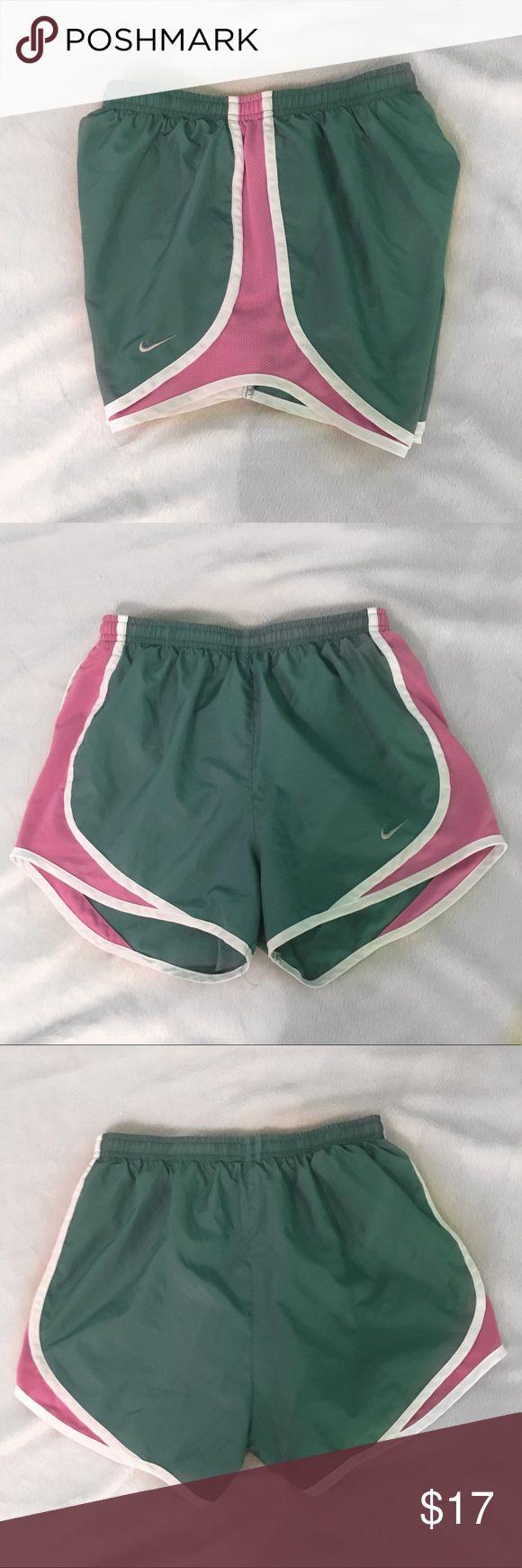 Green pink & white nike shorts Super cute Nike shorts in amazing condition! Nike Shorts