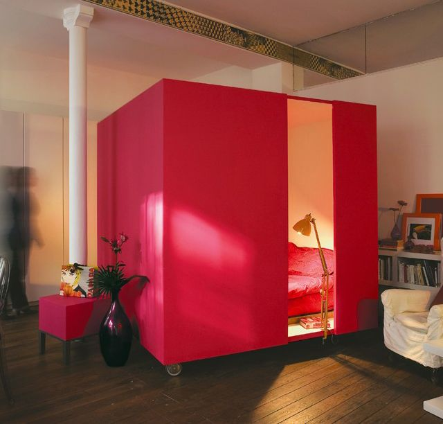 Mobile Bed Cube ~ instant guest space when you have no guest room! Inflatable mattress and PVC framing with curtained privacy area that can be stored in closet.Small Apartments, Beds, Small Bedrooms, Interiors Design Kitchens, Bedrooms Design, Cool Ideas, Studios Apartments, Open Plan, Studios Apt