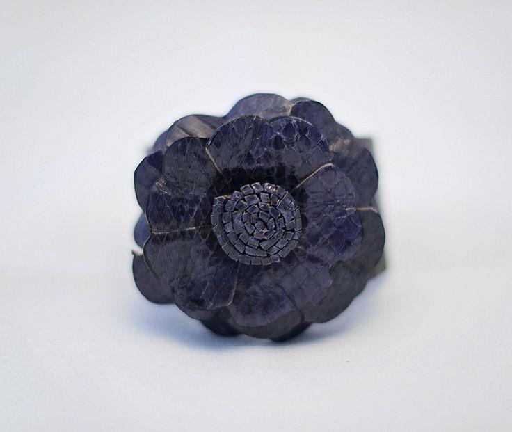 Leather Flower Cuff Bracelet - Aubergine