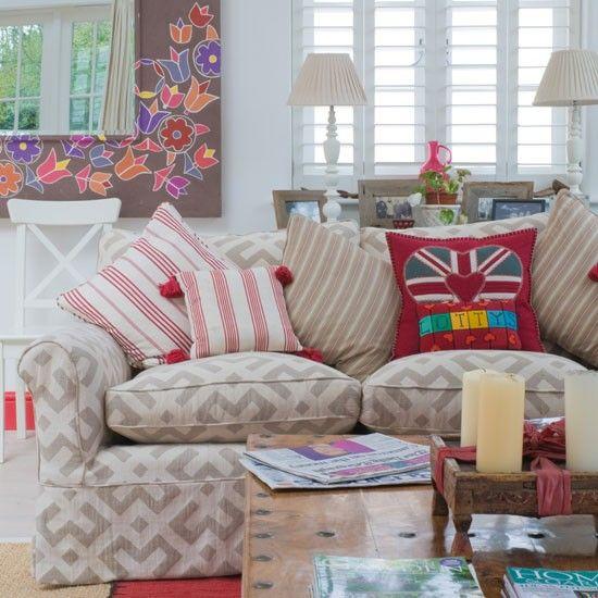 Motif Living Room Patterned Cushion Living Room Idea
