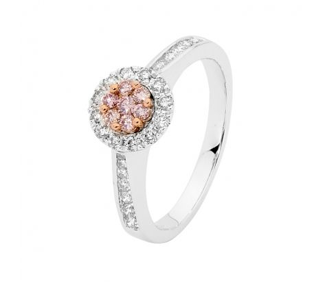 From 2015 Steal Her Heart ... This 9ct rose and white gold diamond ring from the Forever Pink collection features natural pink and white diamonds totalling 0.50ct TDW in a classic halo cluster with channel set shoulders. ATMN1