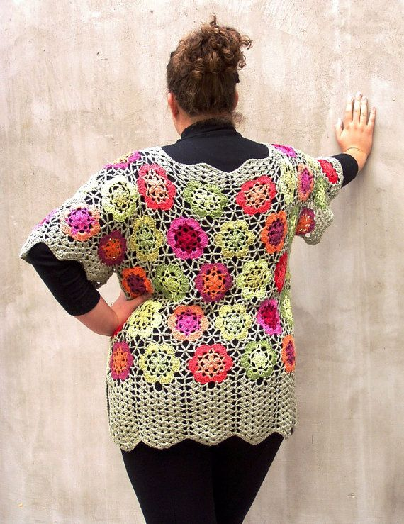 Plus size Colorful Fairy Meadow Crocheted Tunic by HEraMade, $300.00