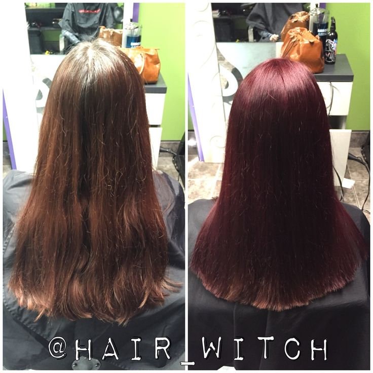 All Over Brighter Red Violet Hair Color Using Matrix