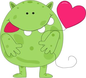 cute monsters | Day Love Monster - cute green little Valentine's day love monster ...