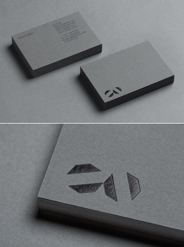 Black foil stamp on grey card _ Octovo business cards, Jeremy Matthews…