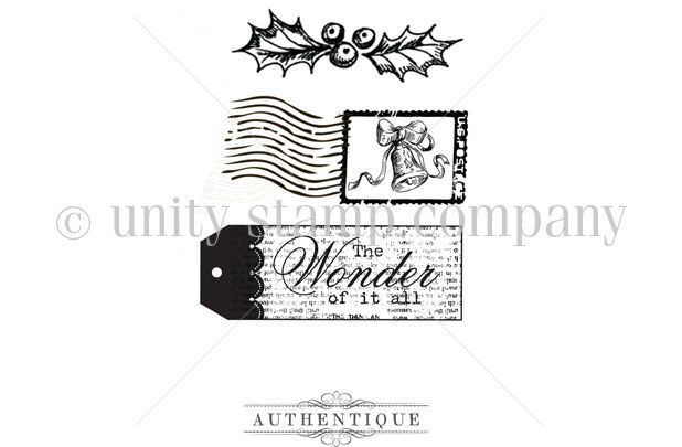 """{from our """"itty bitty"""" collection}.  This Itty Bitty contains 3 stamps.  Mistletoe measures approximately .5"""" x 2"""".  Postage paid stamp and The Wonder of it all tag stamp both measure approximately 1"""" x 2.5"""".  All Unity Stamps are pre-cut, mounted on cling foam and ready to use right out of the package – you can mount our stamps on any acrylic block.    Unity is known for its HIGH QUALITY red rubber stamp – to be used for years to come.    All Unity Stamps are pre-cut, mounted on cling foam…"""