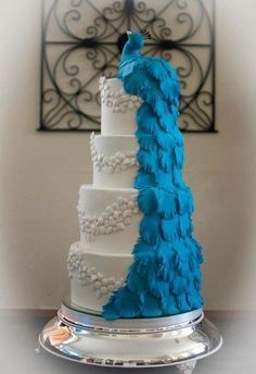 photos of blue and white wedding cakes - Google Search