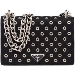 Prada Tessuto/Calfskin Grommet Chain Shoulder Bag | Beauty bag ...
