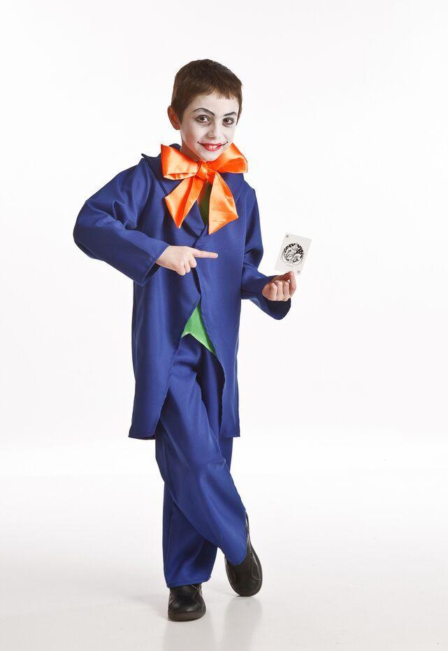 DisfracesMimo, disfraz de joker niños infantiles.Es de vivos colores y muy versátil, ya que los pequeños pueden caracterizar al archienemigo de Batman, el villano Joker, un hombre de época con chistera o un novio vampiro con frac.Este disfraz es ideal para tus fiestas temáticas de disfraces de personajes de television niños.