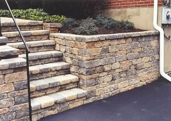 Retaining wall steps railing house Pinterest