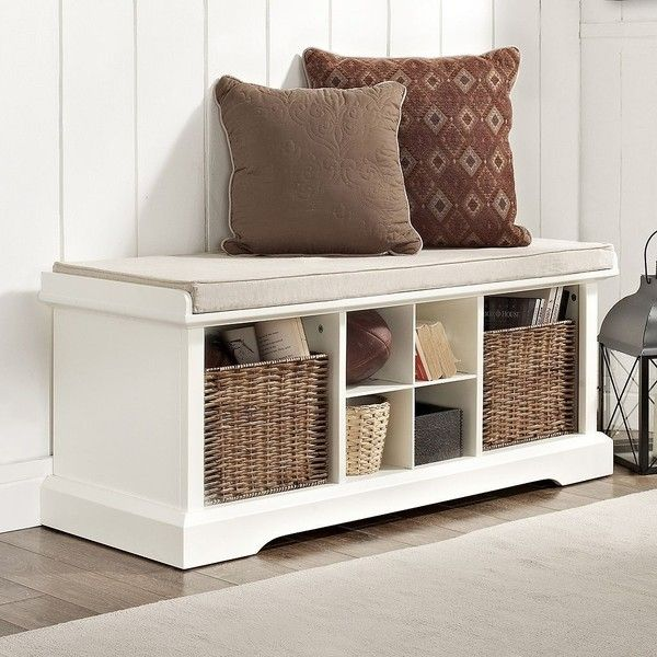 Crosley Furniture Brennan Entryway Storage Bench (White) found on Polyvore featuring polyvore, home, furniture, benches, white, colored furniture, white bench, white furniture, cubby storage bench and white storage bench