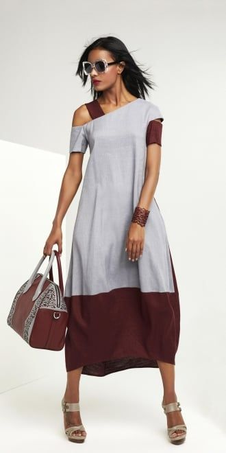 Oblique Grey-Claret Panel Dress | idaretobe authorised UK stockist