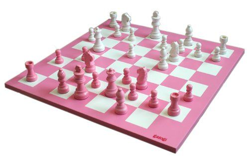 "Patricia 14"" Wooden Chess Game Set - Pink and White Board and Pieces - Listing price: $39.99 Now: $34.95"