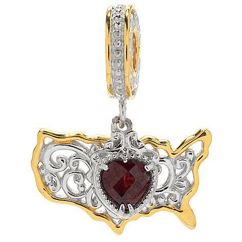 154-036 - Gems en Vogue 1.06ctw Garnet Heart & United States Drop Charm