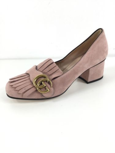 b47e0f7d72ed Details about GUCCI Women s Marmont GG Pink Suede Fringe Loafer Mid ...