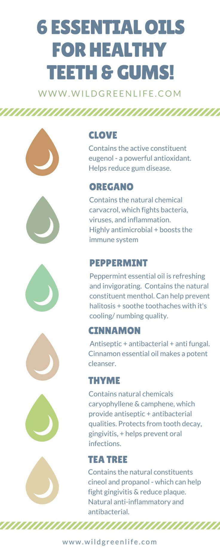 6 Essential Oils for Healthy Teeth and Gums! Click through to read more, or pin to save for later!