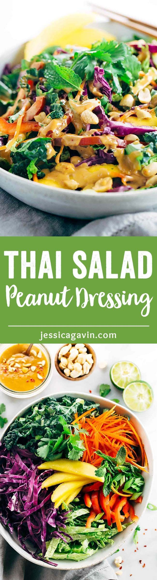Crunchy Thai Salad Recipe with Creamy Peanut Dressing - Each bite is packs a powerhouse of fresh superfoods all in one irresistible bowl   jessicagavin.com